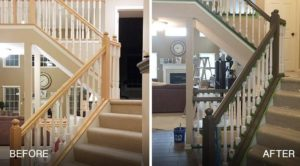 winter interior painting project-paint stairs