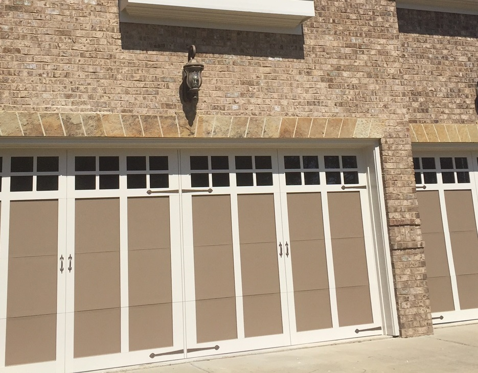 Garage Door Painting After With White Trim Paint And Darker Panels. Rotted Wood  Replacement ...