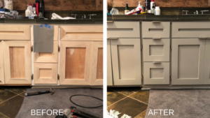 Interior Trim Painting Bathroom Cabinets Before and After