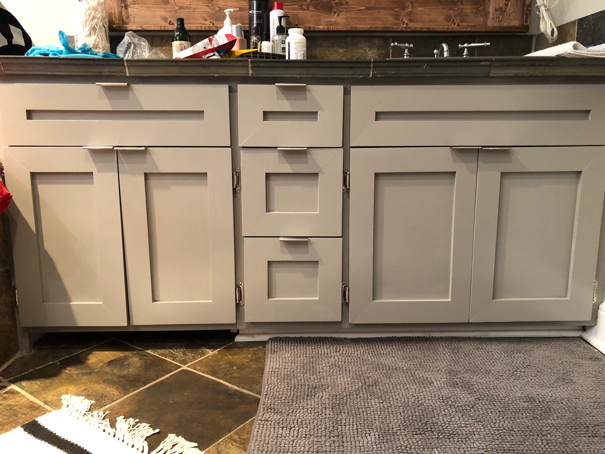 Interior Trim Painting On Bathroom Cabinets After