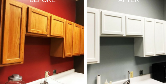 cabinet painting upgrade for doctor's office white paint on wood cabinets