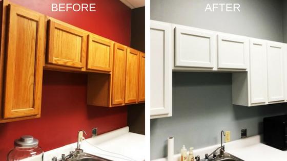 Cabinet Painting Upgrade For Local Doctor S Office White Paint On Wood Cabinets