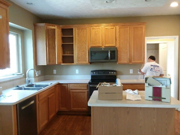 Glossy White Paint on Honey Oak Kitchen Cabinets | Before ...