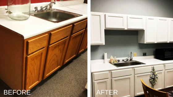wood cabinets painted white before and after