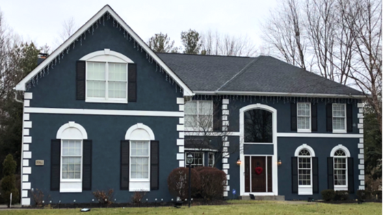 Navy Exterior Siding Combination White Trim Dark Door