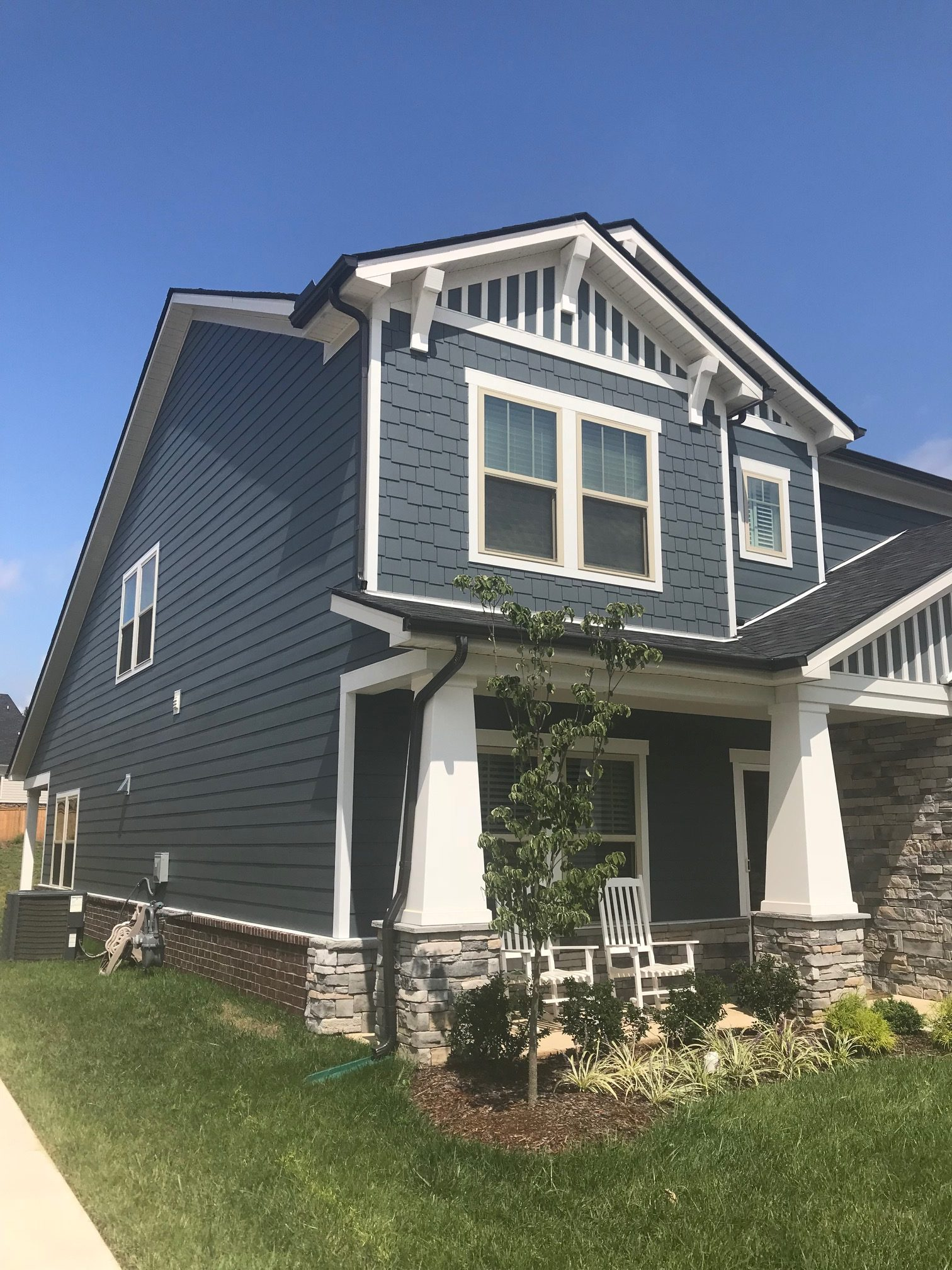 New Build Exterior Painting Upgrade Slate Blue Siding With White Trim Before After