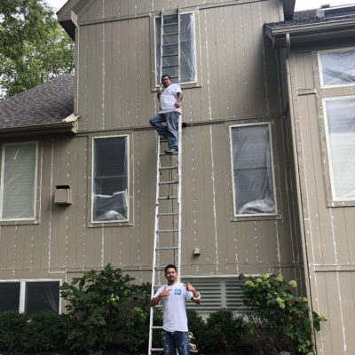 exterior painting painters on ladder