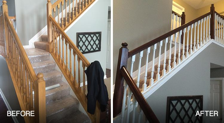 painted stairs and railings before and after