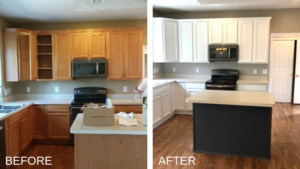 wood to white kitchen cabinets before and after