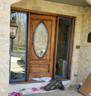exterior natural oak wood door refinishing