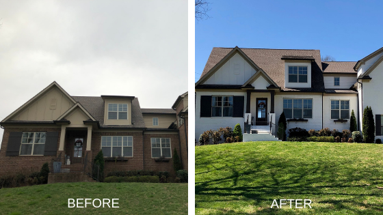 residential exterior brick painting before and after photos