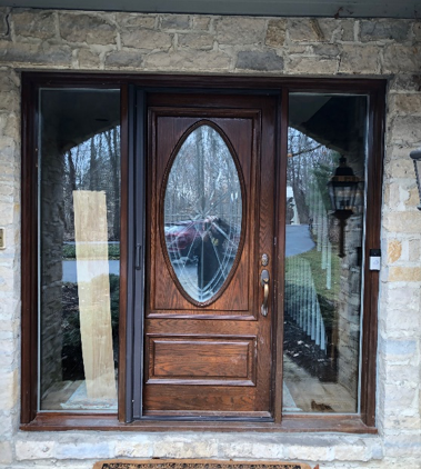 exterior oak wood door refinishing before picture