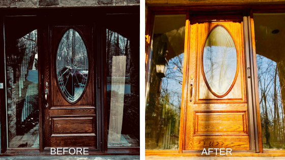 wooden exterior door before and after