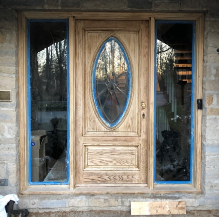 wooden exterior door refinishing