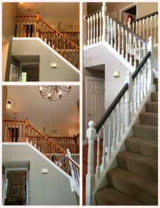 painted staircase before after white frame